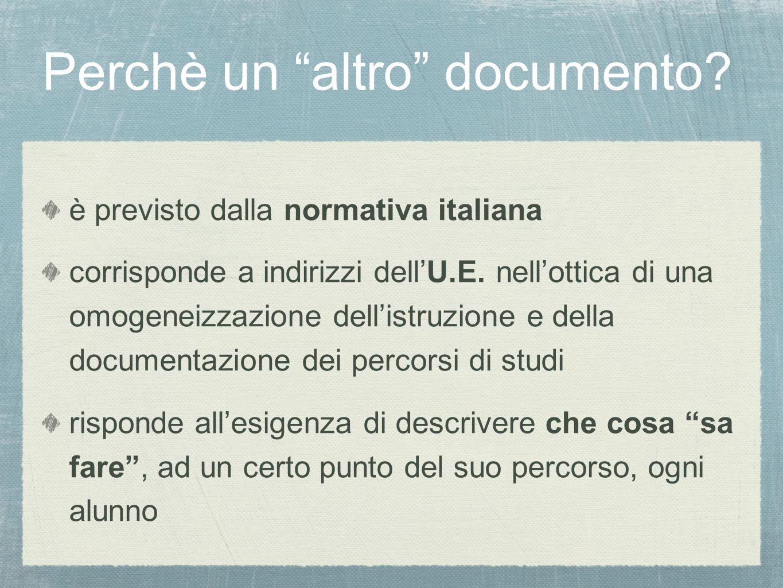 Perchè un altro documento.è previsto dalla normativa italiana corrisponde a indirizzi dell'U.E.