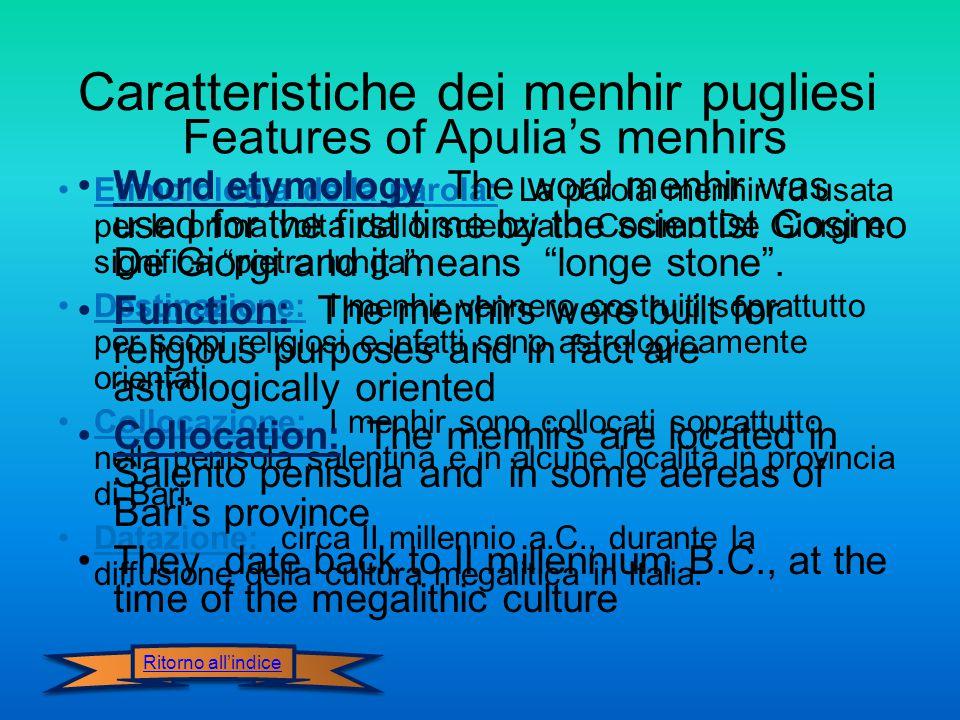 Caratteristiche dei menhir pugliesi Features of Apulia's menhirs Ritorno all'indice Etimolologia della parola: La parola menhir fu usata per la prima volta dallo scienziato Cosimo De Giorgi e significa pietra lunga .