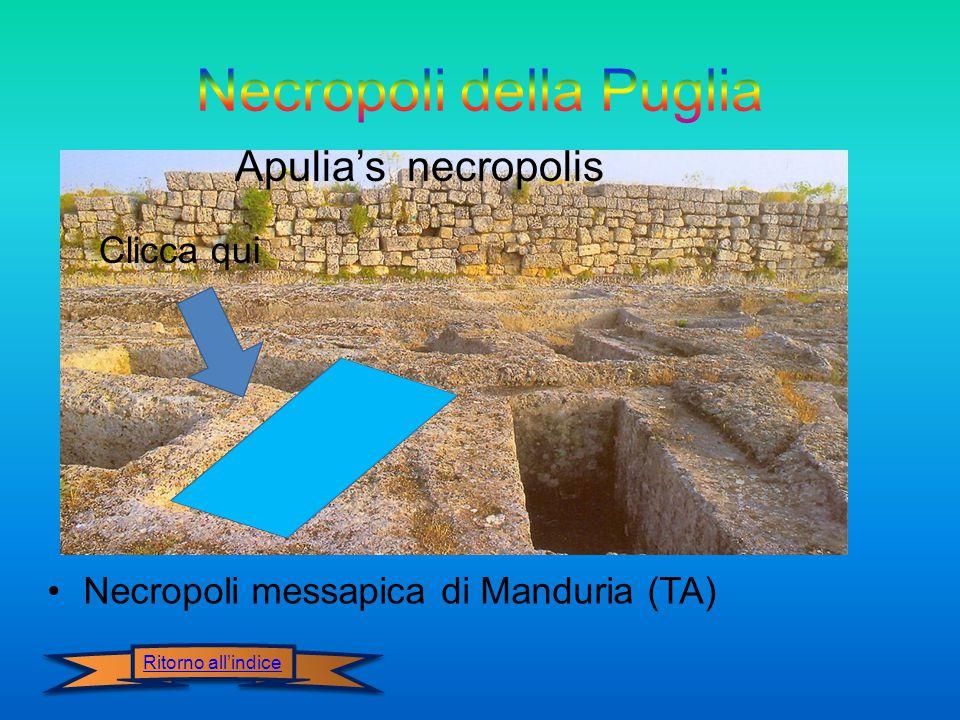Necropoli messapica di Manduria (TA) Apulia's necropolis Ritorno all'indice Clicca qui
