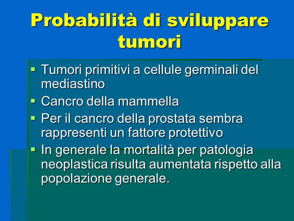 Probabilità di sviluppare tumori  Tumori primitivi a cellule germinali del mediastino  Cancro della mammella  Per il cancro della prostata sembra r