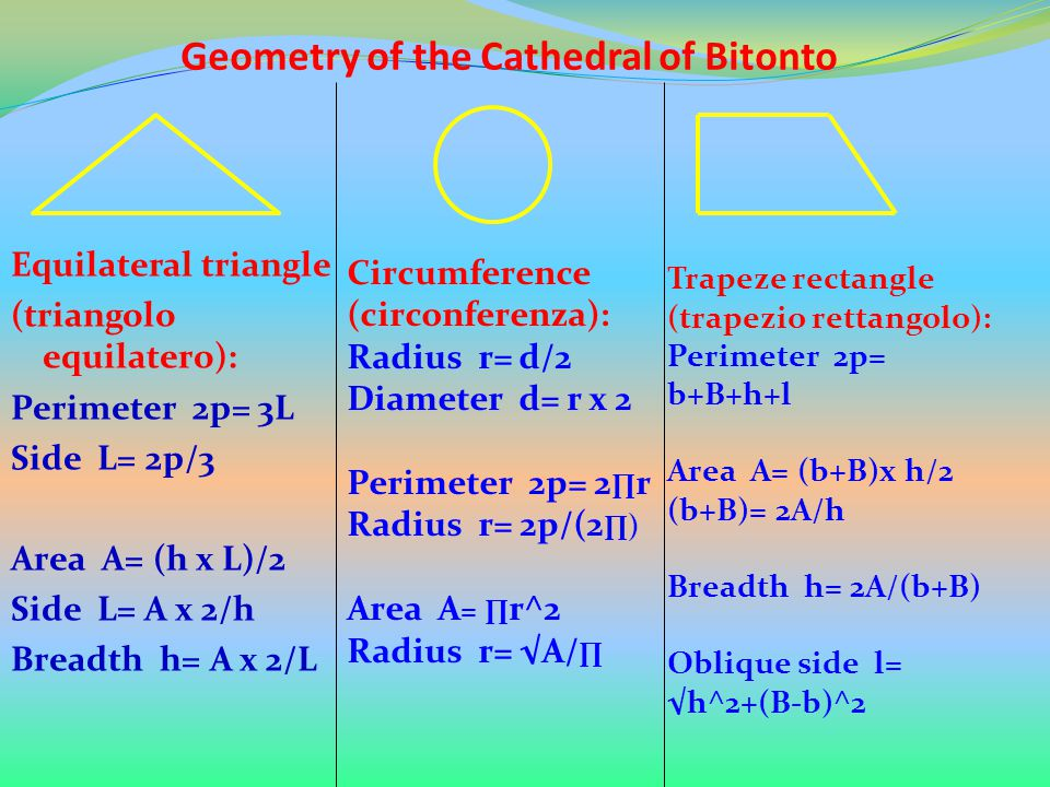 Geometry of the Cathedral of Bitonto Equilateral triangle (triangolo equilatero): Perimeter 2p= 3L Side L= 2p/3 Area A= (h x L)/2 Side L= A x 2/h Brea