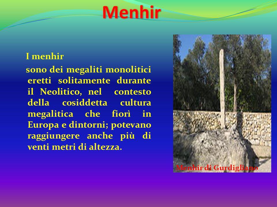 I menhir sono dei megaliti monolitici eretti solitamente durante il Neolitico, nel contesto della cosiddetta cultura megalitica che fiorì in Europa e dintorni; potevano raggiungere anche più di venti metri di altezza.