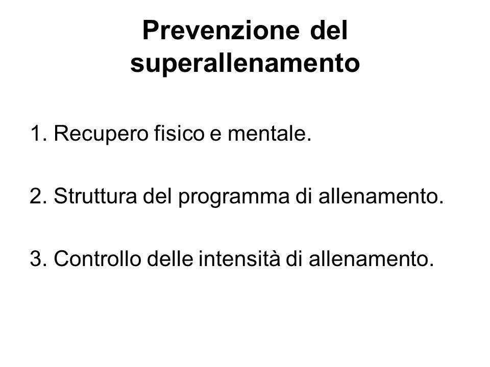 Prevenzione del superallenamento 1. Recupero fisico e mentale. 2. Struttura del programma di allenamento. 3. Controllo delle intensità di allenamento.