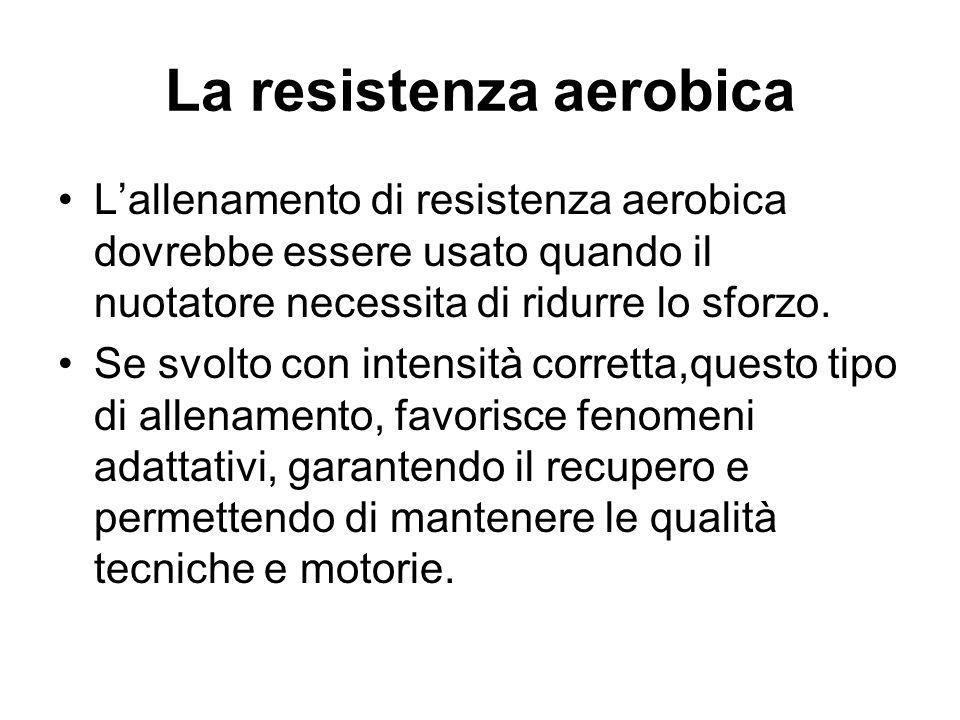 La resistenza aerobica L'allenamento di resistenza aerobica dovrebbe essere usato quando il nuotatore necessita di ridurre lo sforzo. Se svolto con in