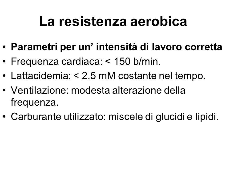 La resistenza aerobica Parametri per un' intensità di lavoro corretta Frequenza cardiaca: < 150 b/min. Lattacidemia: < 2.5 mM costante nel tempo. Vent