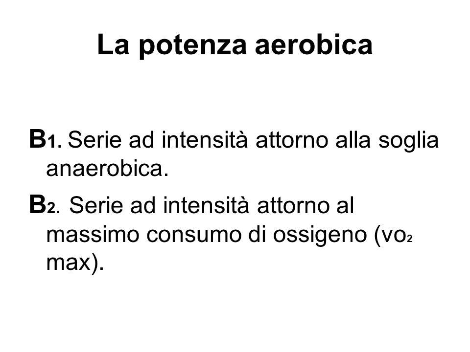 La potenza aerobica B 1. Serie ad intensità attorno alla soglia anaerobica. B 2. Serie ad intensità attorno al massimo consumo di ossigeno (vo 2 max).