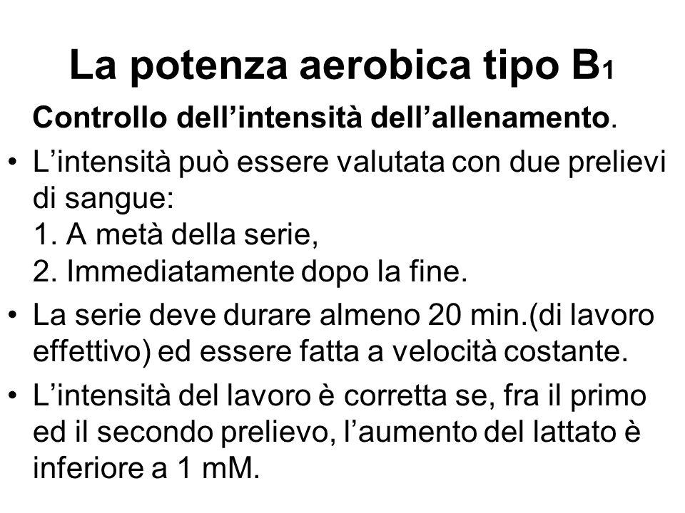 La potenza aerobica tipo B 1 Controllo dell'intensità dell'allenamento. L'intensità può essere valutata con due prelievi di sangue: 1. A metà della se
