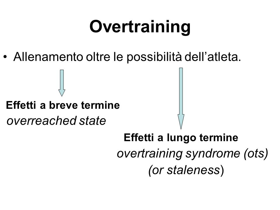 Overtraining Allenamento oltre le possibilità dell'atleta. Effetti a breve termine overreached state Effetti a lungo termine overtraining syndrome (ot