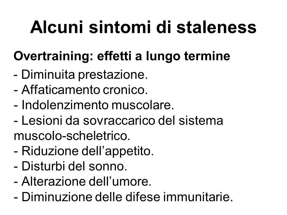 Alcuni sintomi di staleness Overtraining: effetti a lungo termine - Diminuita prestazione. - Affaticamento cronico. - Indolenzimento muscolare. - Lesi