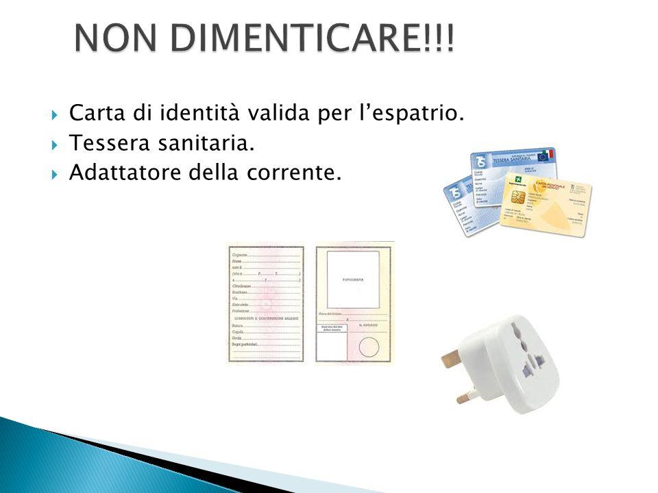  Carta di identità valida per l'espatrio.  Tessera sanitaria.  Adattatore della corrente.