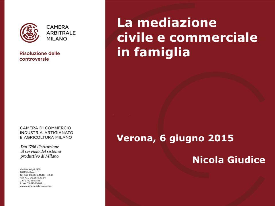 Verona, 6 giugno 2015 Nicola Giudice La mediazione civile e commerciale in famiglia