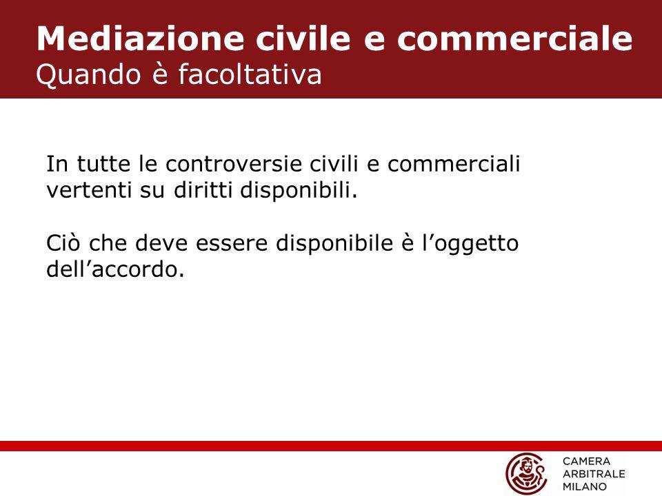 Mediazione civile e commerciale Quando è facoltativa In tutte le controversie civili e commerciali vertenti su diritti disponibili.