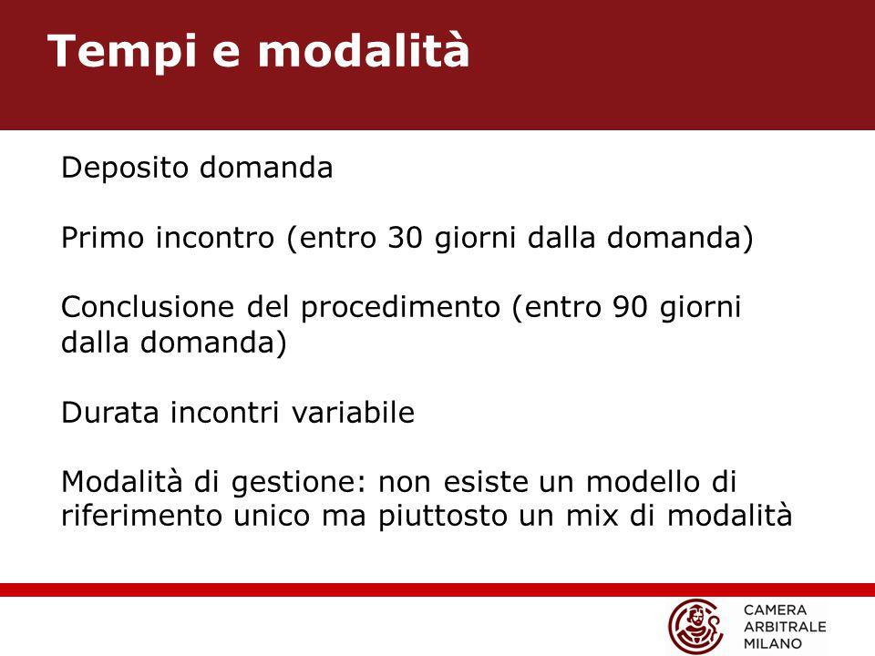 Tempi e modalità Deposito domanda Primo incontro (entro 30 giorni dalla domanda) Conclusione del procedimento (entro 90 giorni dalla domanda) Durata incontri variabile Modalità di gestione: non esiste un modello di riferimento unico ma piuttosto un mix di modalità
