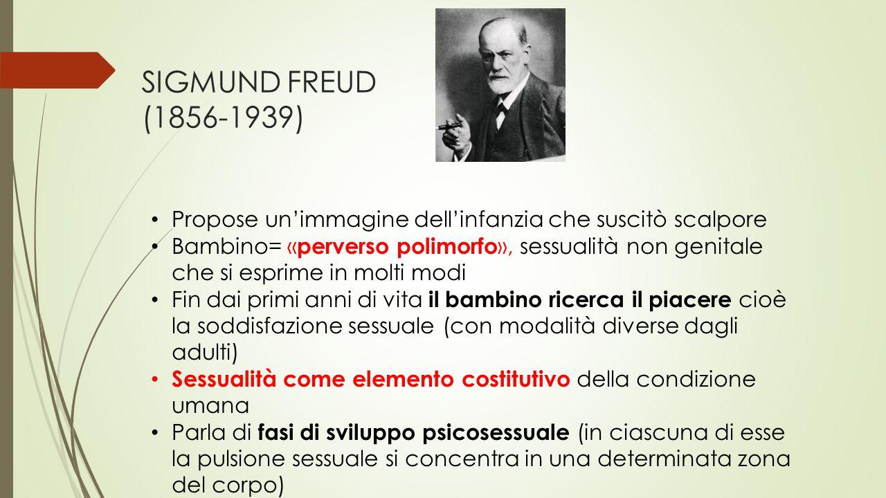 SIGMUND FREUD (1856-1939) Propose un'immagine dell'infanzia che suscitò scalpore Bambino= « perverso polimorfo », sessualità non genitale che si espri