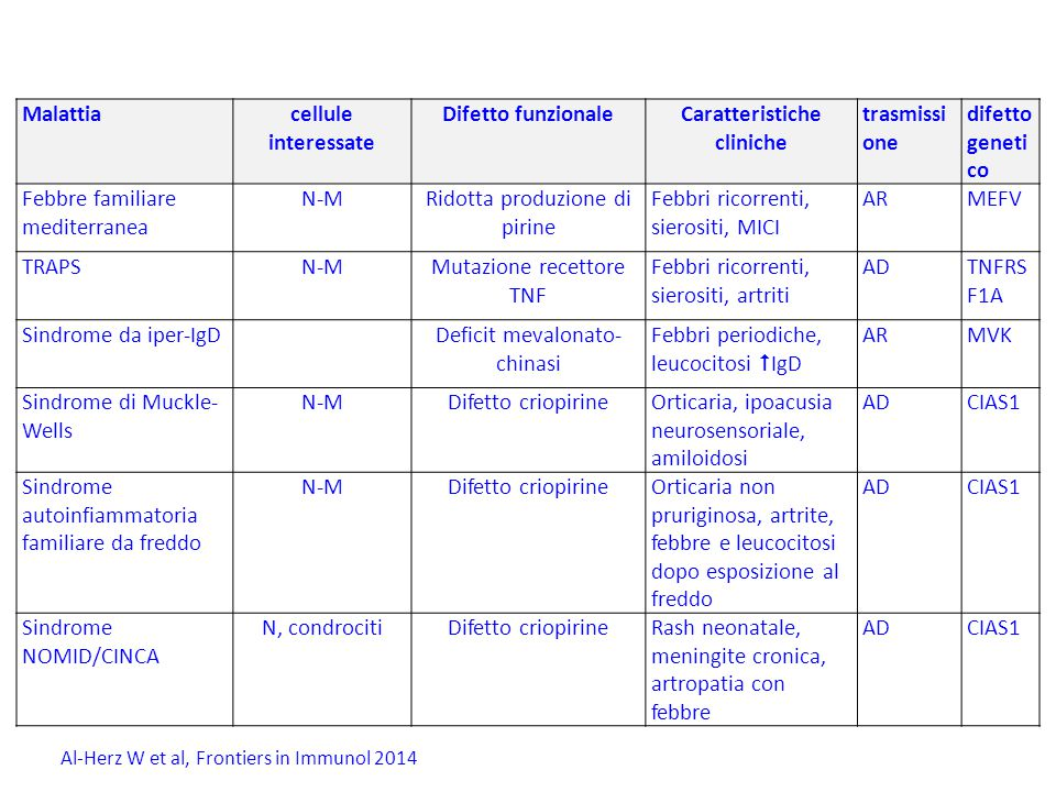 Malattie autoinfiammatorie Malattiacellule interessate Difetto funzionaleCaratteristiche cliniche trasmissi one difetto geneti co Febbre familiare mediterranea N-MRidotta produzione di pirine Febbri ricorrenti, sierositi, MICI ARMEFV TRAPSN-MMutazione recettore TNF Febbri ricorrenti, sierositi, artriti ADTNFRS F1A Sindrome da iper-IgDDeficit mevalonato- chinasi Febbri periodiche, leucocitosi  IgD ARMVK Sindrome di Muckle- Wells N-MDifetto criopirineOrticaria, ipoacusia neurosensoriale, amiloidosi ADCIAS1 Sindrome autoinfiammatoria familiare da freddo N-MDifetto criopirineOrticaria non pruriginosa, artrite, febbre e leucocitosi dopo esposizione al freddo ADCIAS1 Sindrome NOMID/CINCA N, condrocitiDifetto criopirineRash neonatale, meningite cronica, artropatia con febbre ADCIAS1 Al-Herz W et al, Frontiers in Immunol 2014