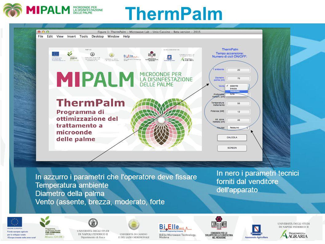 ThermPalm In azzurro i parametri che l operatore deve fissare Temperatura ambiente Diametro della palma Vento (assente, brezza, moderato, forte In nero i parametri tecnici forniti dal venditore dell apparato