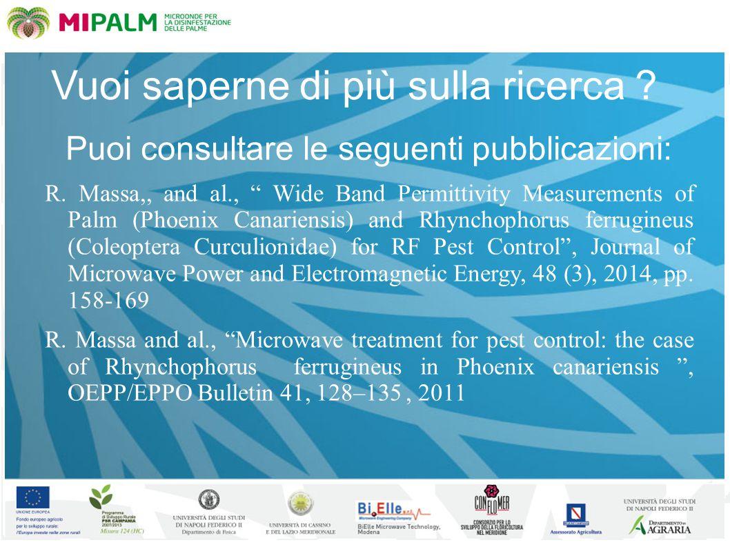 """Vuoi saperne di più sulla ricerca ? Puoi consultare le seguenti pubblicazioni: R. Massa,, and al., """" Wide Band Permittivity Measurements of Palm (Phoe"""