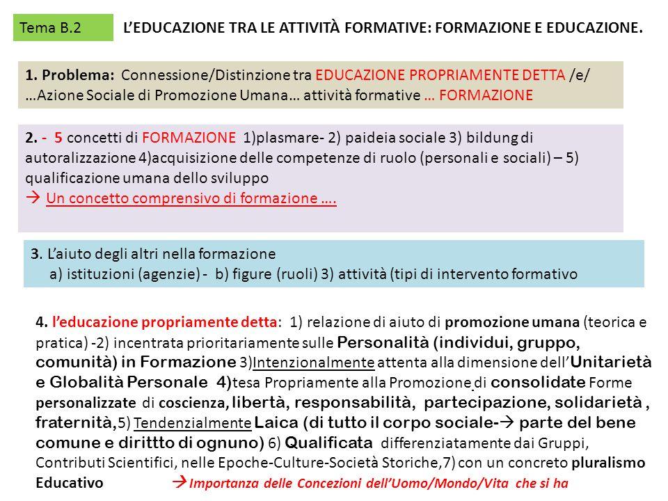Tema B.2 L'EDUCAZIONE TRA LE ATTIVITÀ FORMATIVE: FORMAZIONE E EDUCAZIONE. 1. Problema: Connessione/Distinzione tra EDUCAZIONE PROPRIAMENTE DETTA /e/ …
