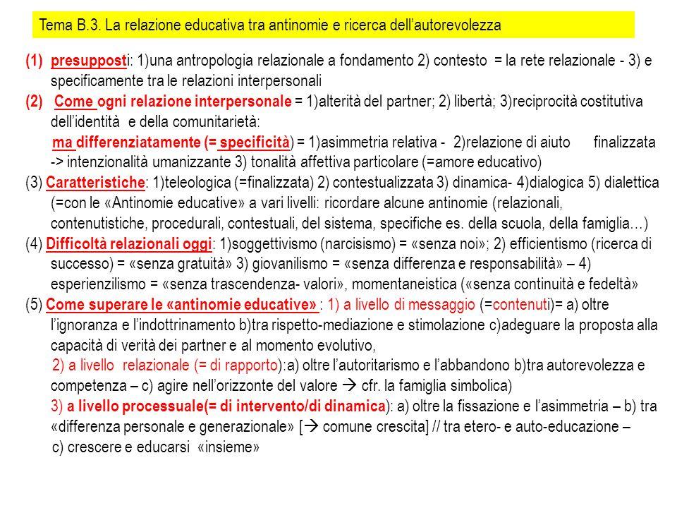 Tema B.3. La relazione educativa tra antinomie e ricerca dell'autorevolezza (1)presuppost i: 1)una antropologia relazionale a fondamento 2) contesto =