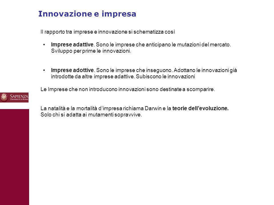 Innovazione e impresa 10 Il rapporto tra imprese e innovazione si schematizza così Imprese adattive. Sono le imprese che anticipano le mutazioni del m
