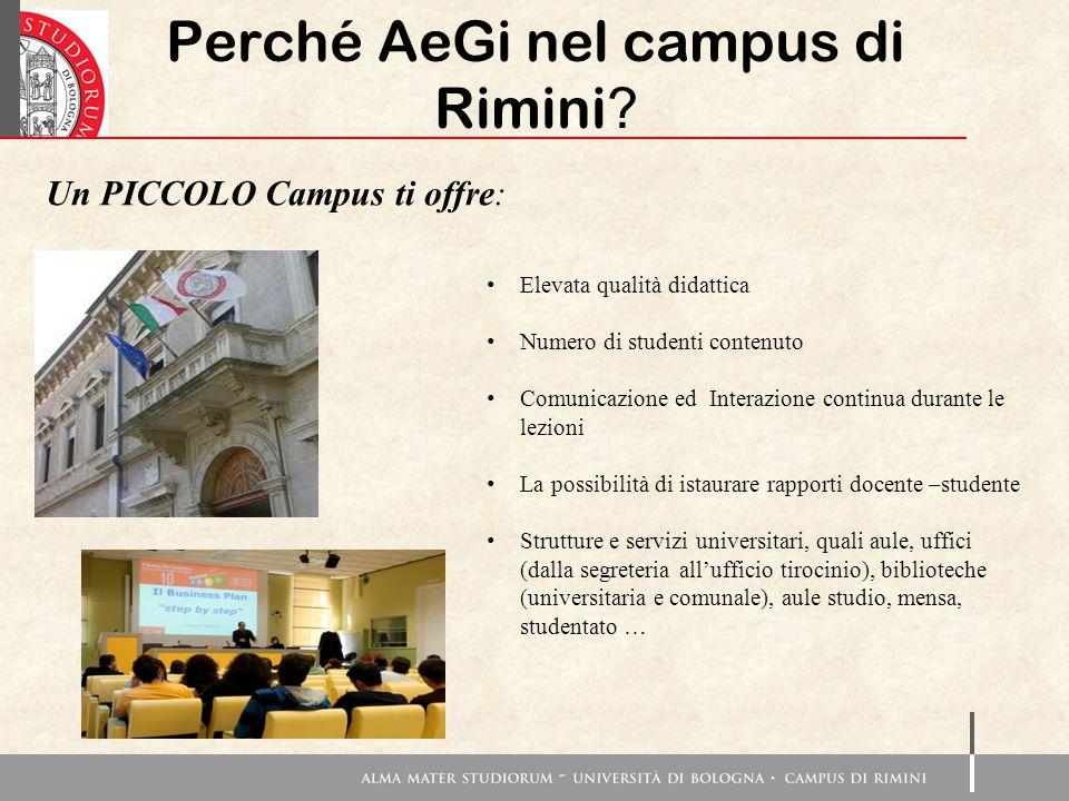 Perché AeGi nel campus di Rimini ? Un PICCOLO Campus ti offre: Elevata qualità didattica Numero di studenti contenuto Comunicazione ed Interazione con