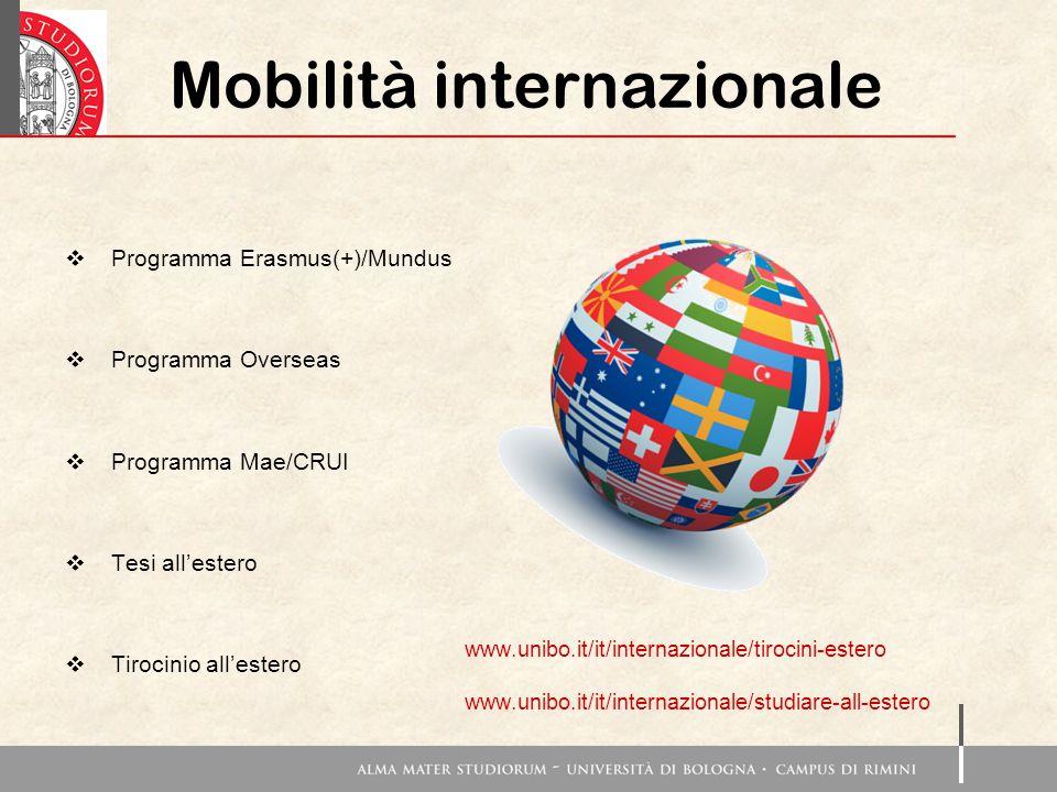 Mobilità internazionale  Programma Erasmus(+)/Mundus  Programma Overseas  Programma Mae/CRUI  Tesi all'estero  Tirocinio all'estero www.unibo.it/it/internazionale/tirocini-estero www.unibo.it/it/internazionale/studiare-all-estero