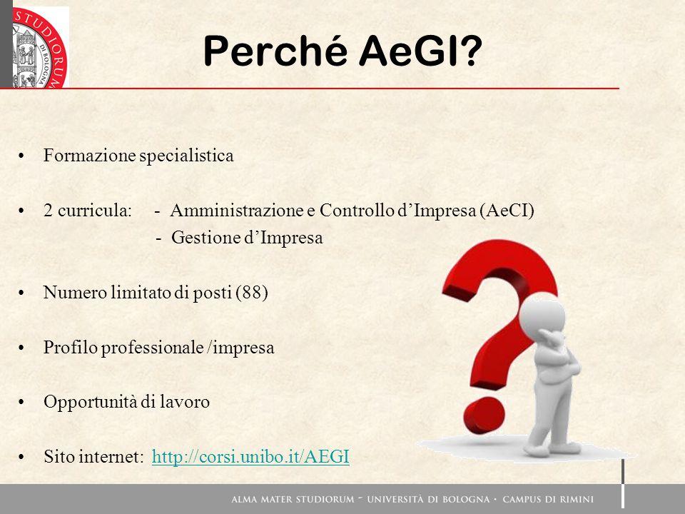 Perché AeGI? Formazione specialistica 2 curricula: - Amministrazione e Controllo d'Impresa (AeCI) - Gestione d'Impresa Numero limitato di posti (88) P