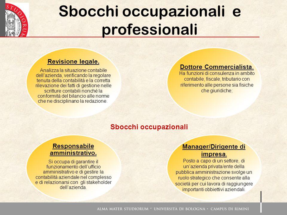 Sbocchi occupazionali e professionali Revisione legale.