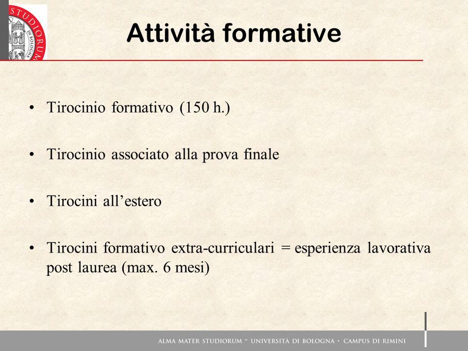 Attività formative Tirocinio formativo (150 h.) Tirocinio associato alla prova finale Tirocini all'estero Tirocini formativo extra-curriculari = esper
