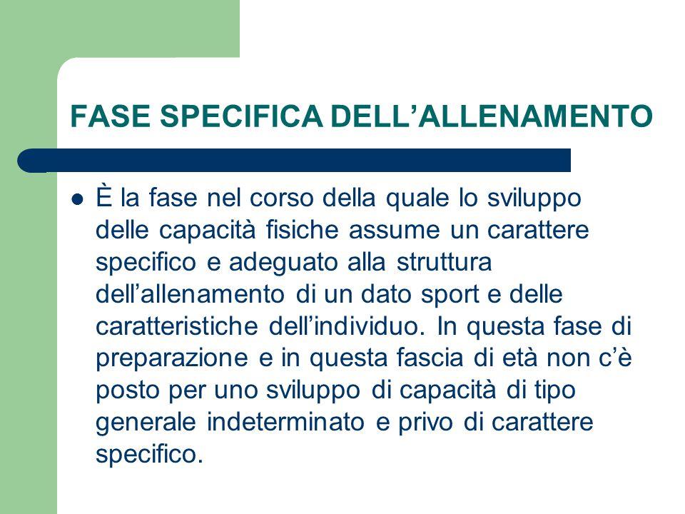 FASE SPECIFICA DELL'ALLENAMENTO È la fase nel corso della quale lo sviluppo delle capacità fisiche assume un carattere specifico e adeguato alla strut