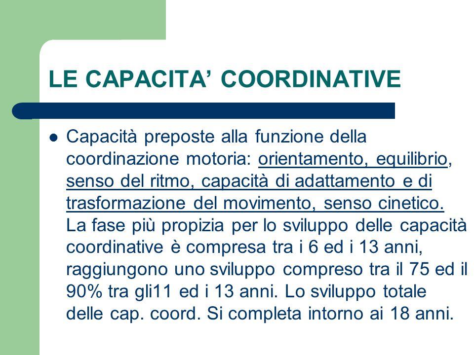 LE CAPACITA' COORDINATIVE Capacità preposte alla funzione della coordinazione motoria: orientamento, equilibrio, senso del ritmo, capacità di adattamento e di trasformazione del movimento, senso cinetico.