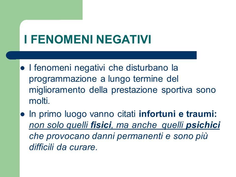 I FENOMENI NEGATIVI I fenomeni negativi che disturbano la programmazione a lungo termine del miglioramento della prestazione sportiva sono molti.