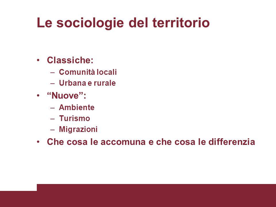 Le sociologie del territorio Classiche: –Comunità locali –Urbana e rurale Nuove : –Ambiente –Turismo –Migrazioni Che cosa le accomuna e che cosa le differenzia