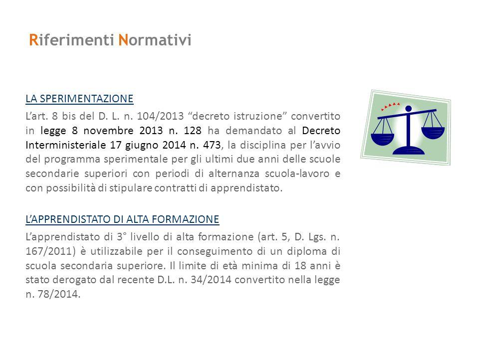 """Riferimenti Normativi LA SPERIMENTAZIONE L'art. 8 bis del D. L. n. 104/2013 """"decreto istruzione"""" convertito in legge 8 novembre 2013 n. 128 ha demanda"""