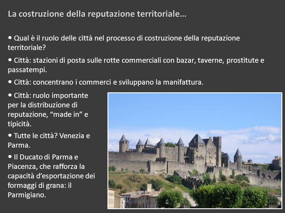 Qual è il ruolo delle città nel processo di costruzione della reputazione territoriale.