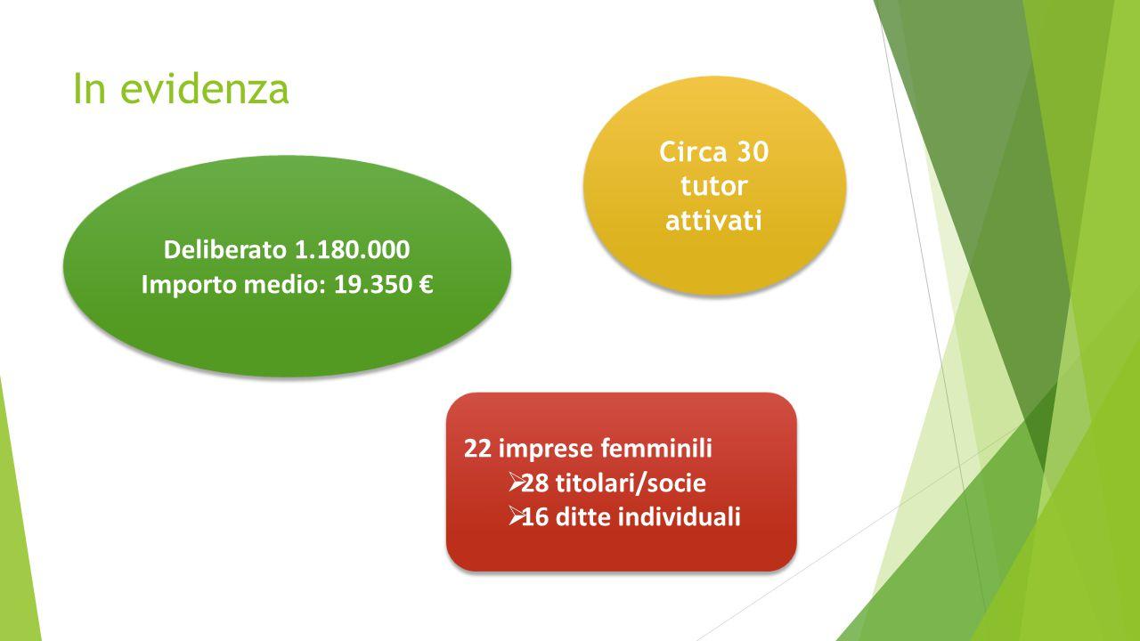 In evidenza Deliberato 1.180.000 Importo medio: 19.350 € Deliberato 1.180.000 Importo medio: 19.350 € 22 imprese femminili  28 titolari/socie  16 di