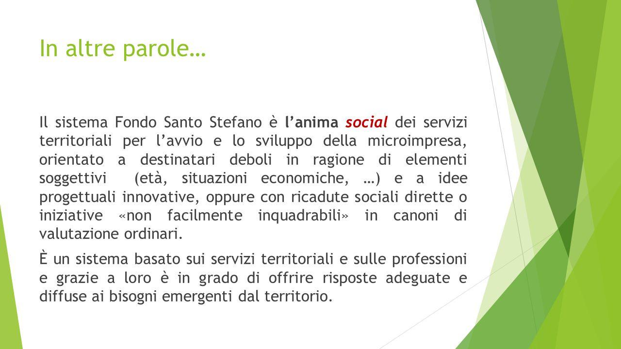 In altre parole… Il sistema Fondo Santo Stefano è l'anima social dei servizi territoriali per l'avvio e lo sviluppo della microimpresa, orientato a de