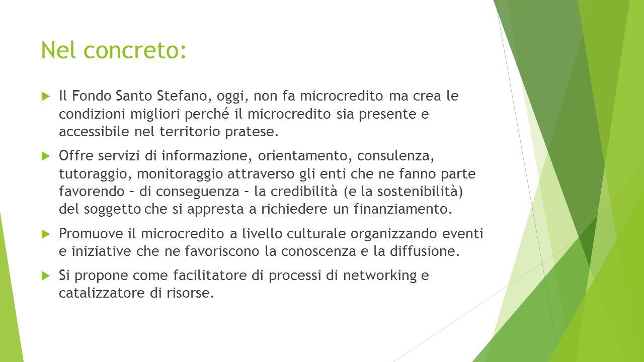 Nel concreto:  Il Fondo Santo Stefano, oggi, non fa microcredito ma crea le condizioni migliori perché il microcredito sia presente e accessibile nel