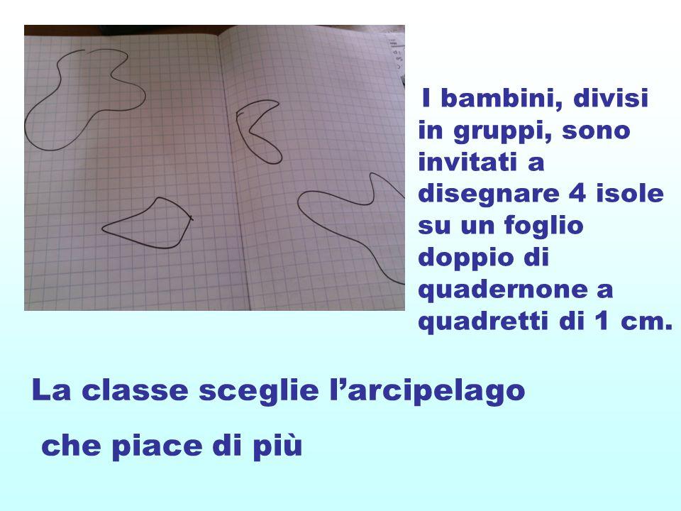 I bambini, divisi in gruppi, sono invitati a disegnare 4 isole su un foglio doppio di quadernone a quadretti di 1 cm.