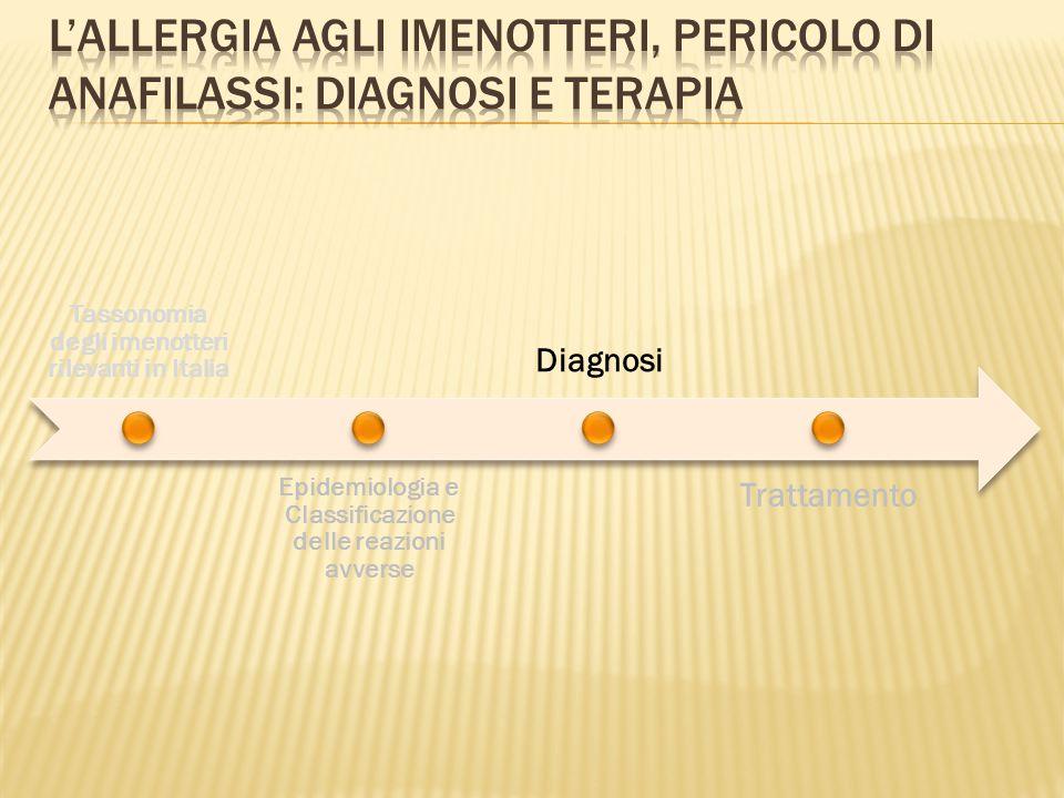 Tassonomia degli imenotteri rilevanti in Italia Epidemiologia e Classificazione delle reazioni avverse Diagnosi Trattamento