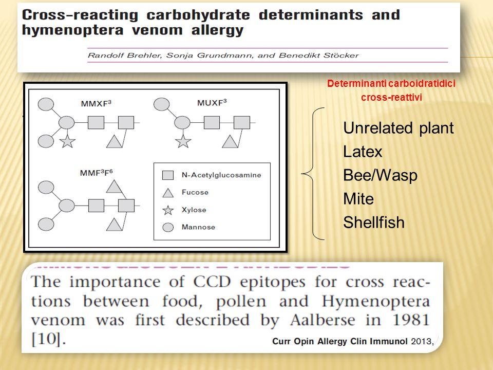 MUXF3 Unrelated plant Latex Bee/Wasp Mite Shellfish Determinanti carboidratidici cross-reattivi