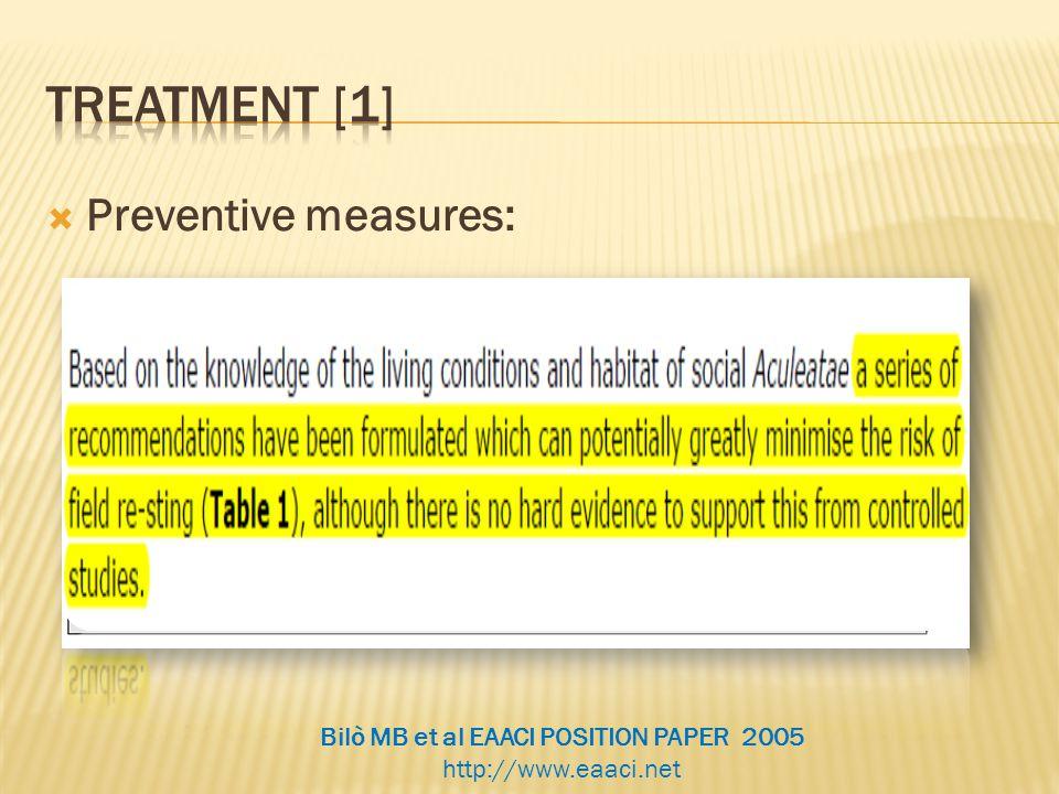  Preventive measures: Bilò MB et al EAACI POSITION PAPER 2005 http://www.eaaci.net