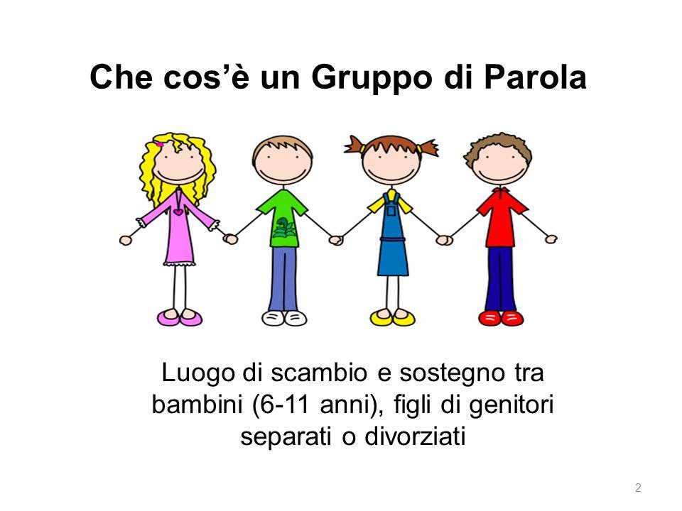 Che cos'è un Gruppo di Parola Luogo di scambio e sostegno tra bambini (6-11 anni), figli di genitori separati o divorziati 2