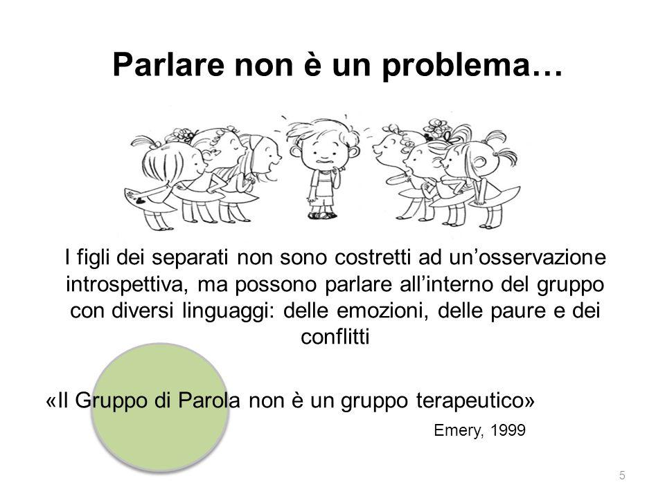 «Il Gruppo di Parola non è un gruppo terapeutico» Emery, 1999 Parlare non è un problema… I figli dei separati non sono costretti ad un'osservazione in