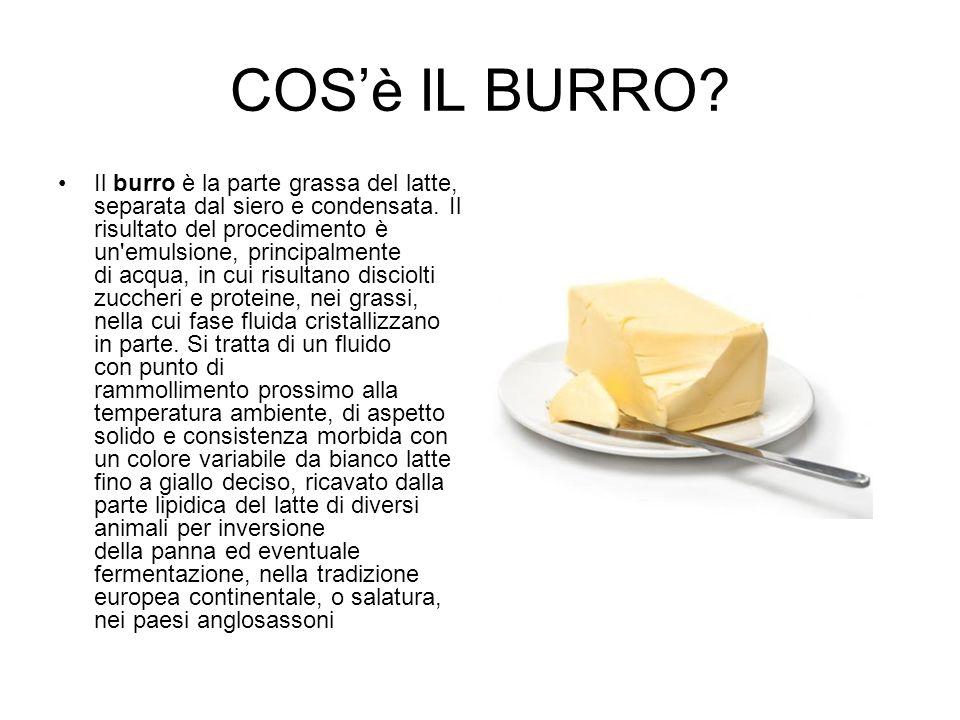 COS'è IL BURRO? Il burro è la parte grassa del latte, separata dal siero e condensata. Il risultato del procedimento è un'emulsione, principalmente di
