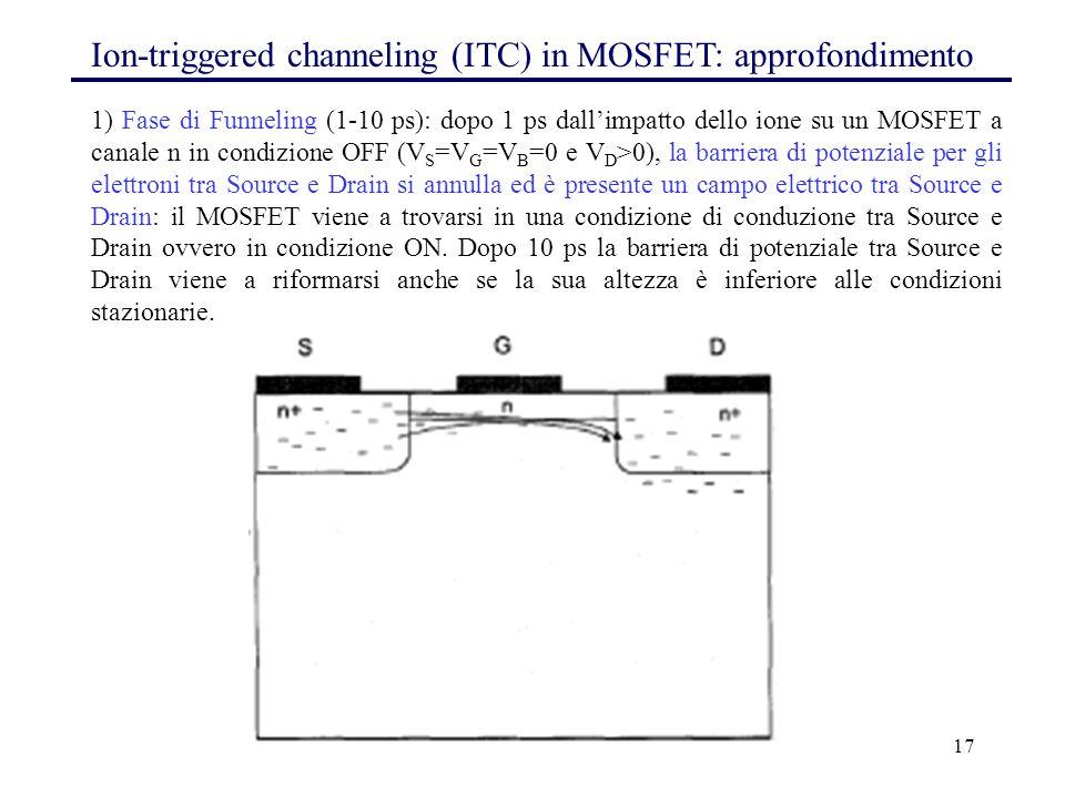 17 1) Fase di Funneling (1-10 ps): dopo 1 ps dall'impatto dello ione su un MOSFET a canale n in condizione OFF (V S =V G =V B =0 e V D >0), la barriera di potenziale per gli elettroni tra Source e Drain si annulla ed è presente un campo elettrico tra Source e Drain: il MOSFET viene a trovarsi in una condizione di conduzione tra Source e Drain ovvero in condizione ON.