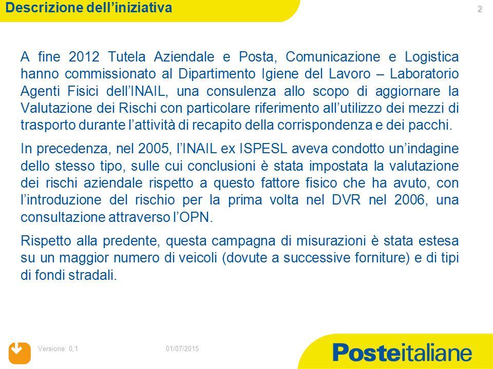 01/07/2015 Versione: 0,1 2 01/07/2015 Descrizione dell'iniziativa A fine 2012 Tutela Aziendale e Posta, Comunicazione e Logistica hanno commissionato