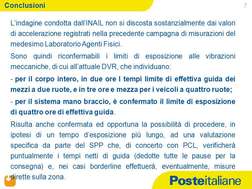 01/07/2015 7 Conclusioni L'indagine condotta dall'INAIL non si discosta sostanzialmente dai valori di accelerazione registrati nella precedente campag