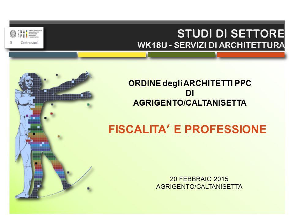 € € STUDI DI SETTORE WK18U - SERVIZI DI ARCHITETTURA Il nuovo obbligo entrerà in vigore dal 31 marzo 2015.