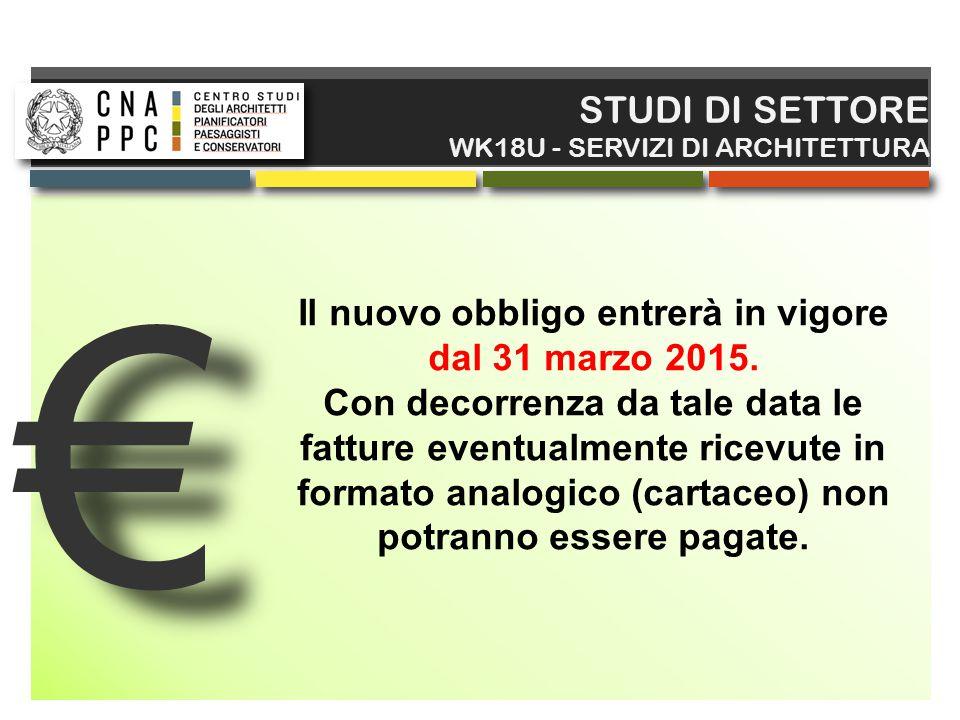 € € STUDI DI SETTORE WK18U - SERVIZI DI ARCHITETTURA Il nuovo obbligo entrerà in vigore dal 31 marzo 2015. Con decorrenza da tale data le fatture even